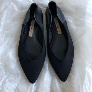 Zara suede leather mix point toe flats sz 6